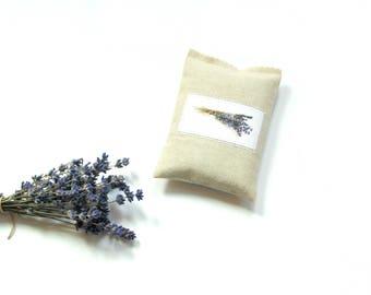 Linen sachet bag, organic lavender sachet drawer freshener, Mothers day gift, embroidered sachet