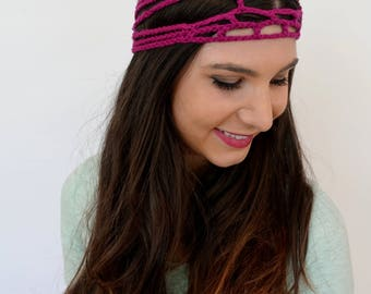 Wide Headband Cage Goddess Head Wrap Cotton Headband Bohemian Head Wrap Crochet Headband Handmade Fuschia Pink - or Choose Color