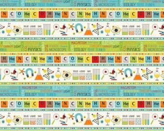 Northcott - Little Genius by Deborah Edwards - Science Stripe