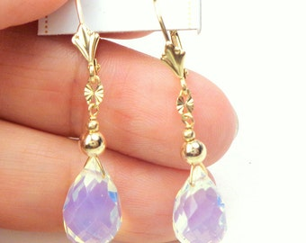 14K Gold, Opalite Earrings, Gemstone Earrings, Gem Drops, Natural Stones, Solid Gold Earrings, Leverback Earrings