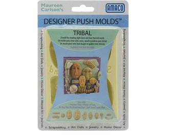 Amaco Flexible Push Mold TRIBAL FACES Polymer Clay Plaster Air Dry Soap