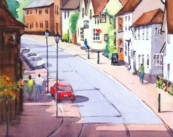 "Original watercolour painting ""An English Village, Botesdale, Norfolk, UK"""