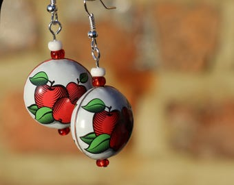 Recycled red and white bottle cap earrings.  Fruit bottle caps made into rounded beads. Apples. Summer. Matching necklace.