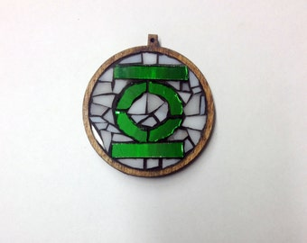 Green Lantern Superhero Symbol Mosaic Pendant - Made to Order