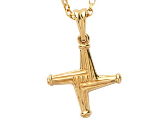 St Brigids Cross - Double Sided Solid Gold Pendant