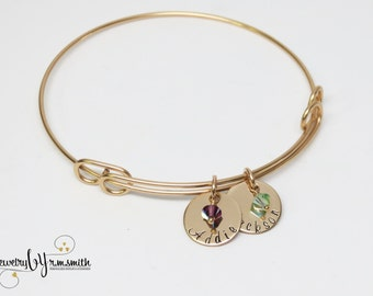 Custom Mothers Bracelet - Personalized Gold Bangle - Grandma - Kids Names - Personalized Jewelry - Birthstone Jewelry - Grandkids - Family