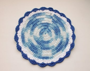 Crochet eco friendly trivet hot pad  - blue-white