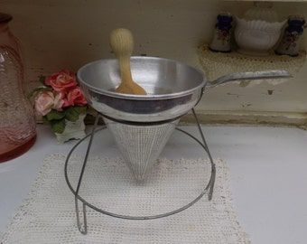 Vintage Metal Canning Strainer with Stand Wooden Masher Rusty Primitive B1347