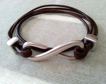 Leather Wrap Bracelet, Infinity Leather Bracelet Silver, Wrap Bracelet Uno de 50 Style Bracelet Zamak Clasp