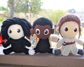 Star Wars Crochet, The Force Awakens Crochet, Rey/Finn/Kylo Ren Plushies