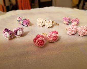 Hand Crocheted Rose Clip Earrings