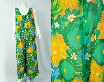 Vintage Jumpsuit 60's Retro Floral One piece // 70's Jumpsuit Palazzo Bell Bottom