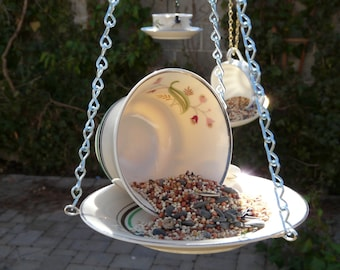 Tea Cup Bird Feeder with Flowers and Green Stripe