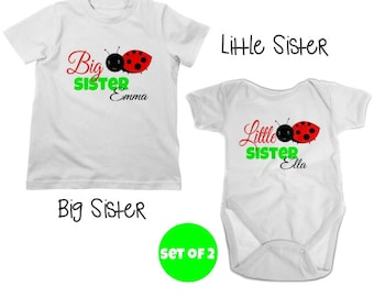 Big Sister Ladybug Shirt & Little Sister Shirt or or Bodysuit - 2 Personalized Sibling Shirts