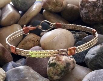 Silver Wire Bracelet, Copper Bracelet, Wire Wrapped Bracelet, Silver and Copper Bracelet, Simple Bangle Bracelet, Minimalist Bracelet