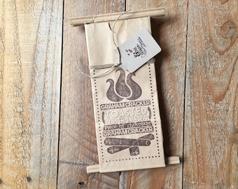 Hand Stamped S'MORES Graphic - Campfire Bonfire Outdoor Party Favor Bags - 6 Coffee Bag with Tin Fold-over Closure - Ready to Ship