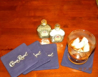 Handmade Crown Royal Salt and Pepper Shaker with FOUR handmade Coasters