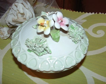 Italian Porcelain Covered Powder Trinket Bowl with Hand  Sculptured Flowers and Heart Design