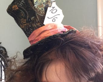 Mini Mad Hatter Hat Tim Burton Johnny Depp Mad Hatter Costume Mad Hatter Top Hat Alice in Wonderland Through the Looking Glass