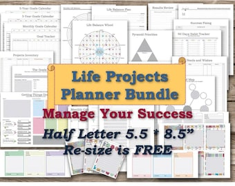 Half size planner printable pages half letter inserts daytimer refills personal progress holder Goal tracker _  Any re-size is FREE!