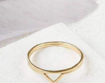 Kora bague, bague Bohème, Chevron or bague, bagues, bague superposable, Gypsy Ring, bague en or Boho, bague Triangle, bague géométrique d'empilage