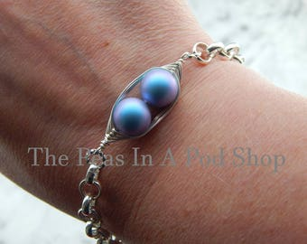 Two Peas In A Pod Silver Bracelet, Iridescent Blue - Personalized Hand stamped Bracelet