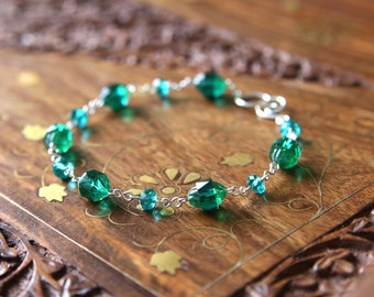 Absinthe Bracelet - Turquoise Green Faceted Glass Beaded Sterling Silver Bracelet, Handmade Jewellery by Ikuri immortelle, FREE SHIPPING