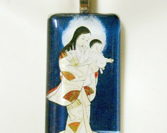 Japanese Madonna and child pendant with chain - GP01-084
