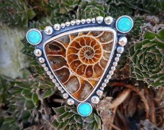 Ammonite and Turquoise Ring