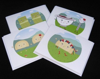 Cute Ukrainian Food Card Variety Pack - 4 pack of cards - pierogies, holubchi, borscht illustrated by A.Bamber