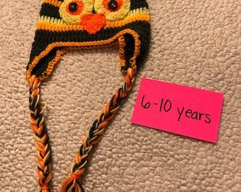 Kids handmade crochet owl hat