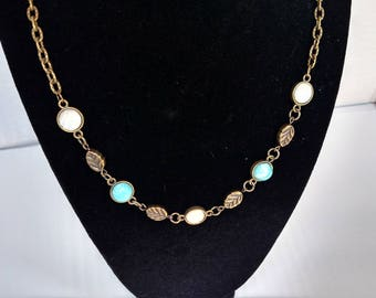 Turquoise and White Simple Leaf Boho Necklace