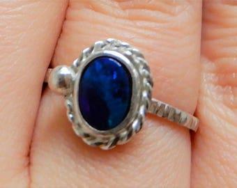 deep marine opal doublet silver ring
