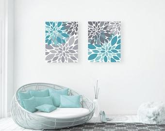 CANVAS ART or PRINTS Turquoise & Gray Flower Burst Wall Art Abstract Botanical Print Set Home Decor Nursery Art, Bathroom Art Aqua Teal