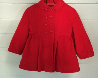 Snow Suit Vintage Red Wool Matching Set Winter Coat Hat and Snow Pants Toddler