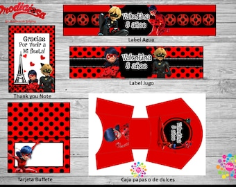 NEW!! MIRACULOUS, Lady Bug!! Printable Party Set! Customize!!