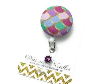 Summer ID Badge Reel - ID Badge Holder - Retractable Badge Reel - Badge Reels - Mermaid ID Badge Reel - Nurse Gift - Mermaid Scales Id Badge