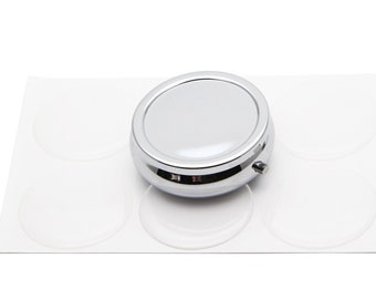 DIY  Blank  Pill Box Kits-40mm 3 Days Blank Compartment Pill Box Container with Epoxy sticker ,comes with Epoxy Dome