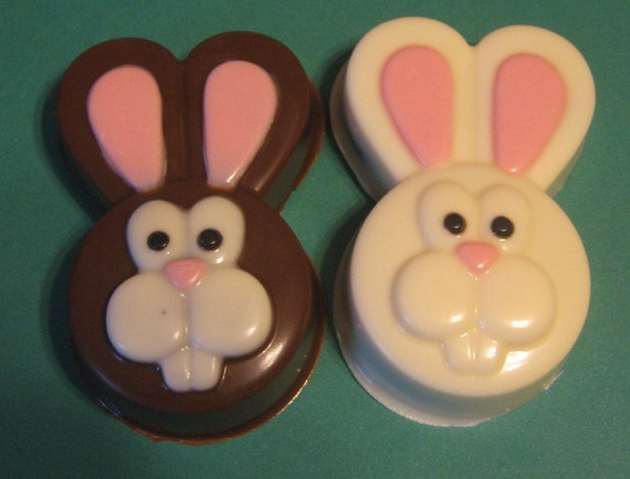 One dozen bunny head chocolate covered sandwich cookie party favors