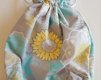 Flower drawstring project bag