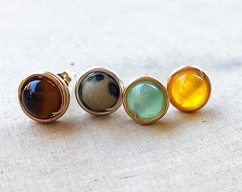 Bead Stud Earrings, Healing Stone, Tigers Eye, Dalmatian Stone, Green Aventurine, Yellow Jade, Crystal Post, Gemstone Jewelry, Boho Chic