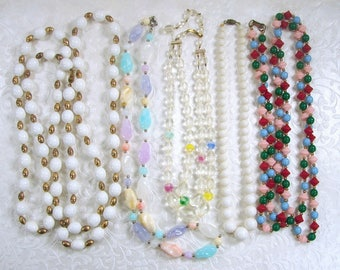 Lot 5 Vintage Beaded Necklaces Bead Necklace Halloween Dress Up Stage Theater Costume Jewelry Multi Strand Acrylic Crystal Plastic Stone