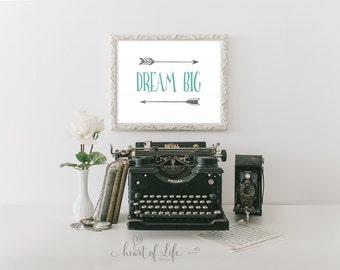 Printable art, Dream big print, Teal and gray nursery decor, Nursery wall art, Dream big quote, Dream big little one, HEART OF LIFE Design