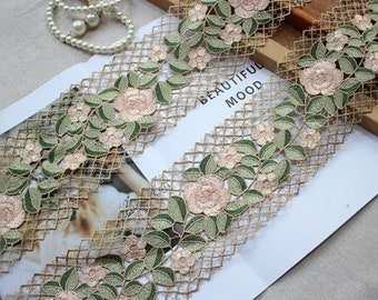 2 yards Exquisite Alencon Green Leaf Pink Flower Venice Lace Trim 3.93 Inches Width