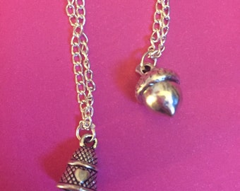 Thimble and Acorn Peter Pan Necklace Set