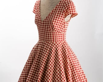 Gingham 40s dress, pinup girl dress, 50s dress, Dorothy dress, swing dress, vintage style dress