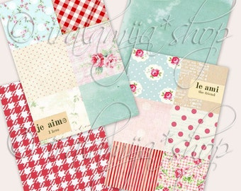 FRENCH COUNTRY backgrounds Collage Digital Images -printable download file-