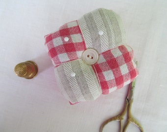 Red and white checked and off white pin cushion or pin keeper