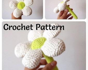 Crochet flower pattern, Flower Baby Rattles - Crochet Pattern, gift for baby, crochet baby shower gift, amigurumi rattle, PDF Download