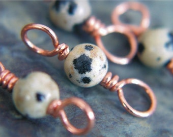 Copper and Dalmatine Stitch Markers -  Set of 4 - Dual Duty US4 US8